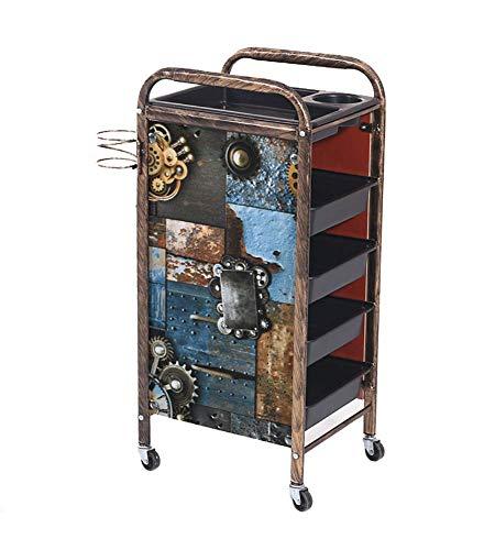 carrito de peluquería Retro Hairdressingley - Carro de almacenamiento de equipo, 5/4 niveles, salón, spa, coloración, salón de belleza, soporte para secador de pelo con 4/3 cajones para coche de herr