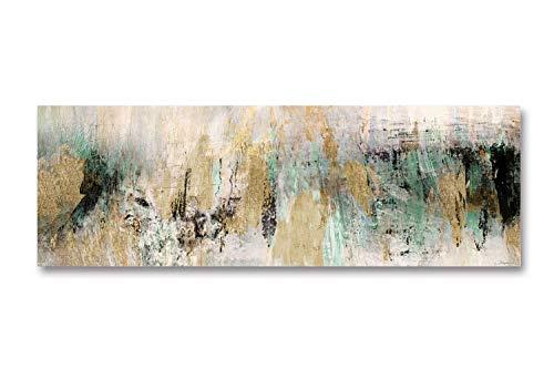 Fajerminart Leinwand Gemälde - Goldenes Grün Abstraktes Gemälde Giclee Druck Gemälde,Leinwanddruck Malerei Kunst Geeignet Wohnzimmer Schlafzimmer Leinwand Wandkunst Dekoration 50x150cm (Kein Rahmen)