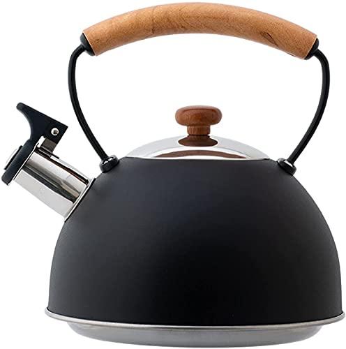 ZHIRCEKE Tetera de silbido de la inducción de la inducción de 3L Hervidor de Acero Inoxidable para el té Café con la manija de Madera Resistente al Calor para la Cocina de la inducción Estufa