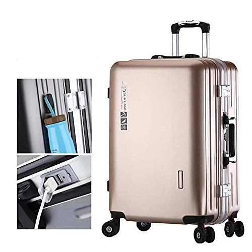 Maleta con ruedas universales PC4 ruedas ABS duro Shell maleta con puerto de carga USB ligero maletín de mano