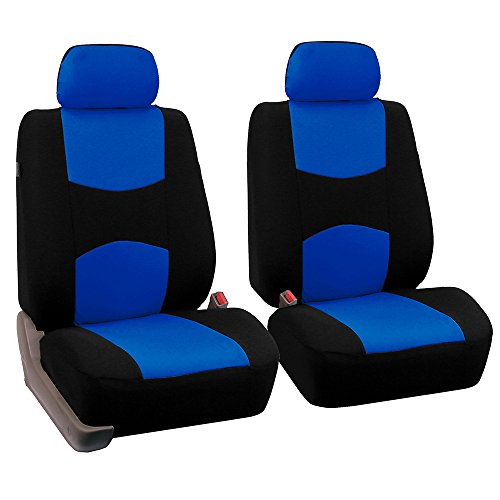 FH GROUP Universal Fit Flat Cloth Pair Bucket Seat Cover (Blue/Black) (FH-FB050102, Fit Most Car, Truck,…