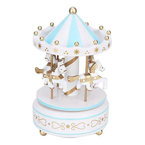 Yanmis Caja de música, Carrusel Caja de música Mercancía para 4 Caballos Carrusel clásico Caja Musical Resina sintética Durable para decoración o Regalo(Azul)