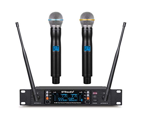 GTD Audio 2x100 Adjustable Channels UHF Wireless Microphone DJ Karaoke Mic System Range 400Ft (2 Hand Mics)