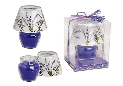Small-Prijs windlicht kaars lavendel lila-wit met lavendelbloesem opdruk - groot