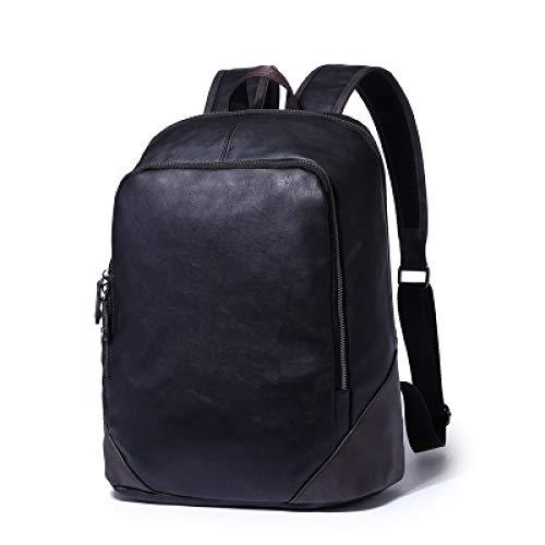 Herren Rucksack Lässig Studententasche Pu-Leder Einfarbig Tasche Große Kapazität Retro Jungen Schultasche 1 30 * 38 * 12 Cm