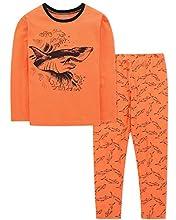 DAUGHTER QUEEN Pijamas Niños 4-5 Años Conjunto de Pijama 100% Algodón con Manga Larga y Estampados Tiburón para Niños Invierno-Pijama Dos Piezas PJs
