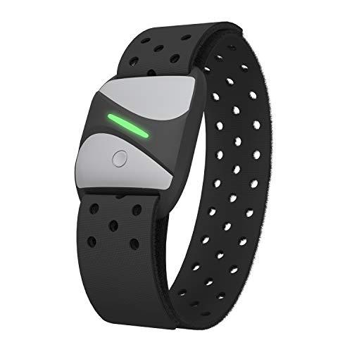 Pulsera Bluetooth ANT+ Monitor de frecuencia cardíaca, correa de pecho, recargable, resistente al agua IP67 con sensores ópticos, compatible con Wahoo Garmin Polar Beat y  200 otras aplicaciones