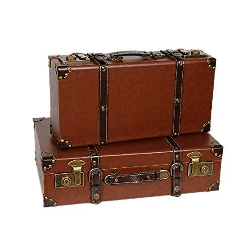 Maleta de equipaje retro antigua Rústico mano hecha a mano antigua ver pirata cofre del tesoro cajas de recuerdo / de almacenamiento con la manija for estante Decoración del hogar Partes decoración de