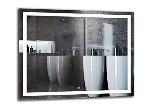 Espejo LED Deluxe - Dimensiones del Espejo 100x80 cm - Interruptor tactil - Espejo de baño con iluminación LED - Espejo de Pared - Espejo con iluminación - ARTTOR M1ZD-47-100x80 - Blanco frío 6500K