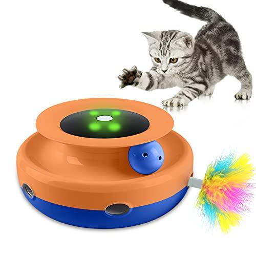 Gladwill lectronic Katzenspielzeug, 2 in 1 Automatisches Interaktives Spielzeug für Indoor Katzen, Automatischer Hinterhalt und Verstecken von Feder, Rotierender Ball mit Spur, Batteriebetrieben