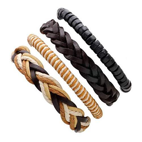 ZKZDSL Armband,Handmade Ethnic Tribal Charmante Männlichen Pulsera Schwarz Geflochtenes Leder Armbänder Armreifen Braun