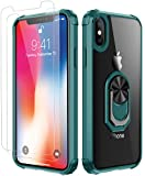 Amuoc Compatible with iPhone Xs MAX Case,[ Military Grade] with [Glass Screen Protector] 15ft. Drop Tested Protective Kickstand Case -Dark Green