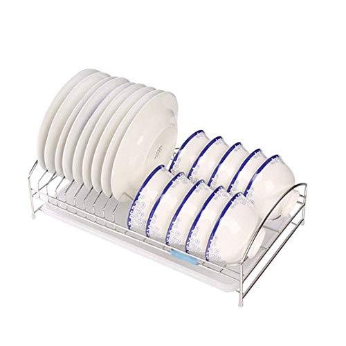 ZYL-YL Drenaje Rejilla de Secado ESCURREPLATOS fácil de acumulación inoxidables preparación en la Cocina Escurridor Estante Organizador de Plata Escurridor (Color: Plata, Tamaño: 42.5x23.5x12.5cm)