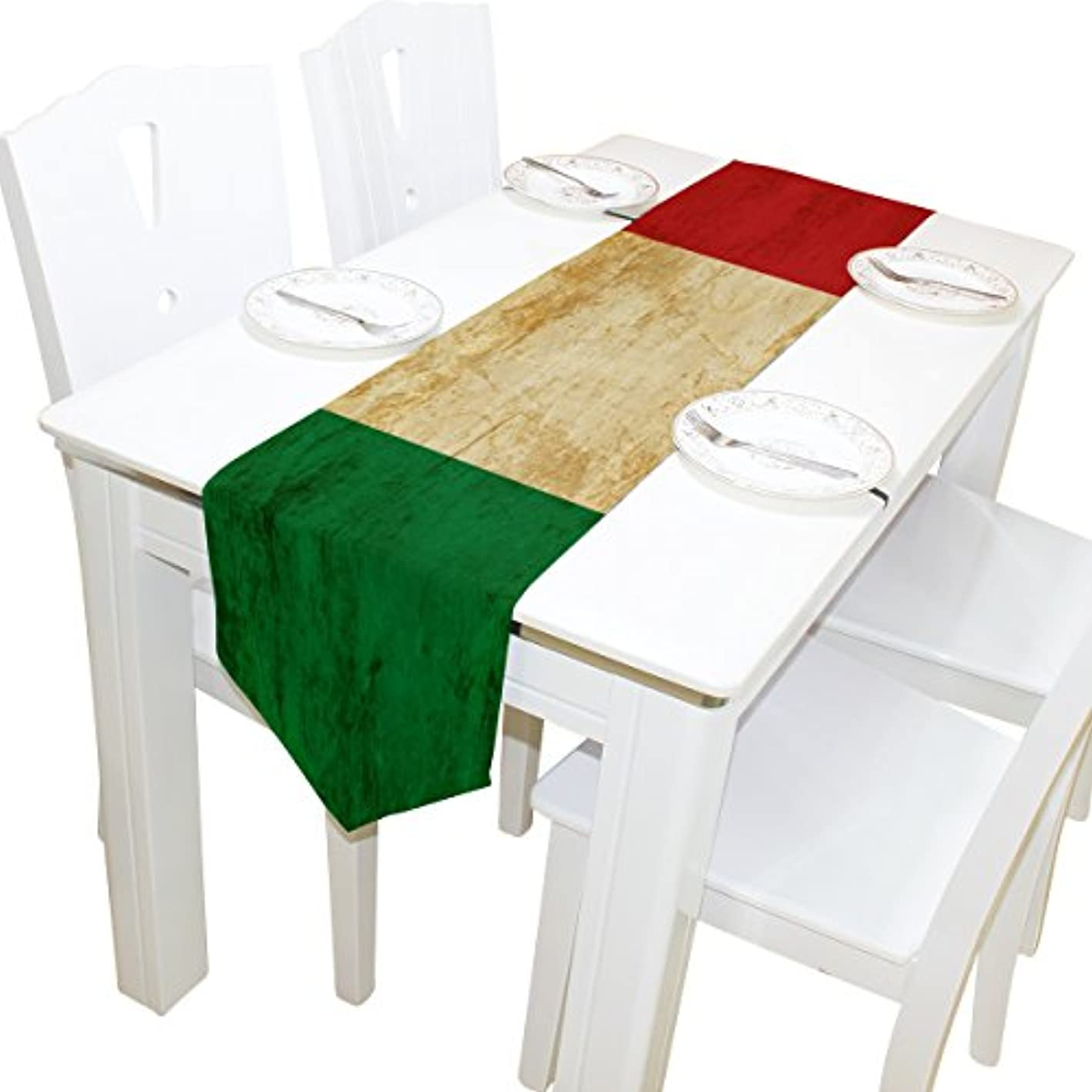 ALAZA Table Runner Home Decor, Vintage Italian Flag Table Cloth Runner Coffee Mat for Wedding Party Banquet Decoration 13 x 90 inches bxkjqtibqhn087