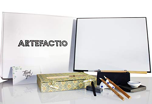 Artefactio Artist Board with Chinese calligraphic Set, 3X Bamboo Brush, Water Drawing Board for Stress Relief. Unique Meditation Gifts for Artist. Create Beautiful Relaxing Art Painting with Water.