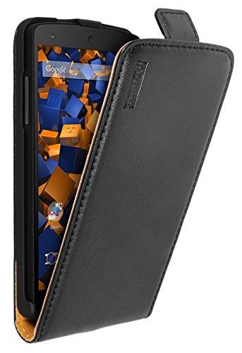 mumbi Echt Leder Flip Case kompatibel mit LG Nexus 5 Hülle Leder Tasche Case Wallet, schwarz