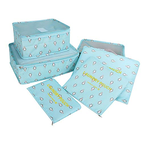 ROGF Travel Storage Bag Clothes Packing Cube Luggage Organizer Pouch 6 Set Waterproof Travel Storage Bags For travel (Color : Blue)