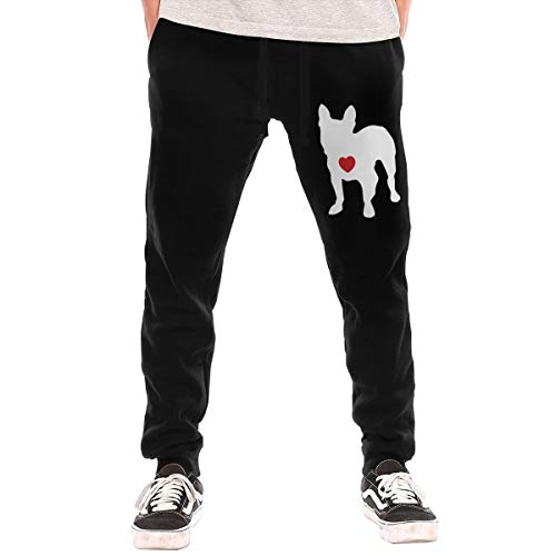 TXL&BEAUTY My Heart French Bulldog Men's Jogger Lounge Sleep Sweatpants Pajamas Black