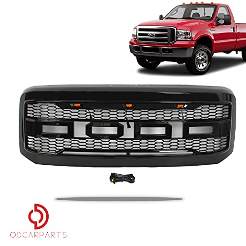 BreaAP Compatible with 2005-2007 Ford F250 F350 Raptor Style Front Grille W/LED/Letters Gloss Black