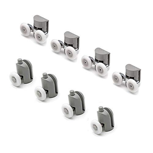 Kit 8 pièces roulettes remplacement douche pour verre porte coulissante Mix 1