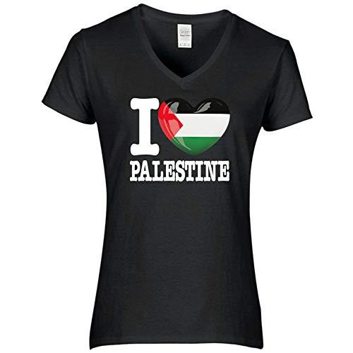FanShirts4u Damen T-Shirt - I Love PALÄSTINA Palestine - WM Trikot Liebe Herz Heart (S, Palestine/schwarz)