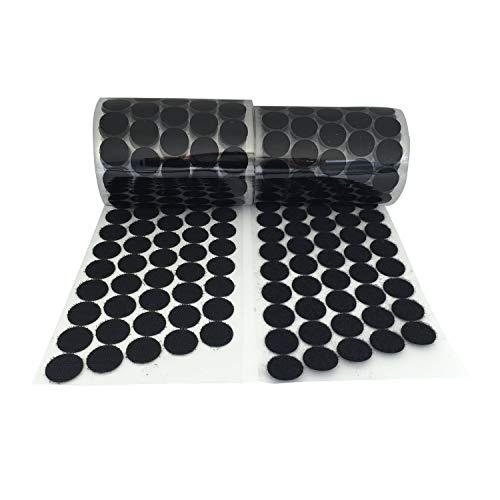 Vkey (500 Pair Sets 20mm Diameter Sticky Back Coins Hook & Loop Self Adhesive Dots Tapes (Black/3/4/500pairs)