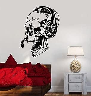 V-studios Vinyl Decal Gamer Skull Headphones Gaming Video Games Wall Stickers VS450