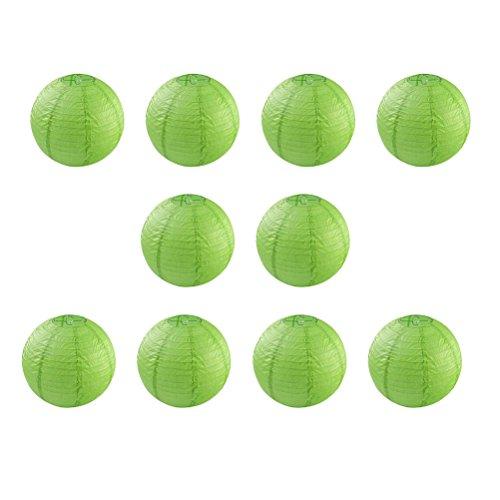 Pixnor Lampions 10pcs 10 pouces rondes lanternes de papier avec du fil Ribbing (vert)