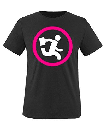 Comedy Shirts - Nerd Herd Logo - Chuck - Mädchen T-Shirt - Schwarz/Weiss-Pink Gr. 110/116