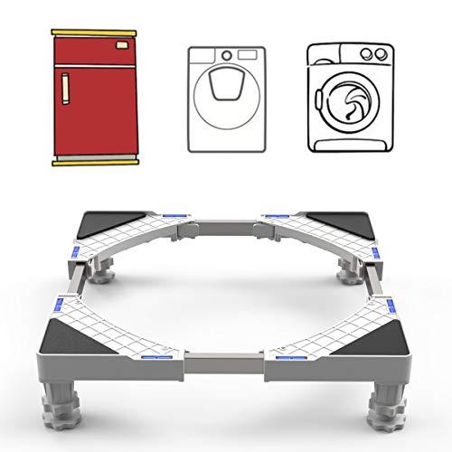 Base Lavatrice Supporto Lavasciuga 41~64 cm altezza 9-12cm regolabile con 4 piedini in gomma resistente per lavatrice, asciugatrice e frigorifero