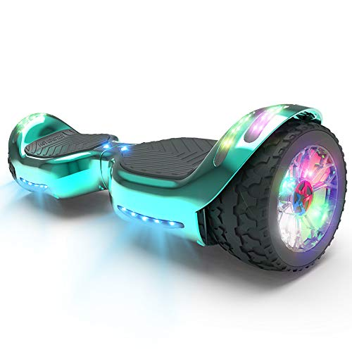HOVERSTAR HS 2.0v Hoverboard All-Terrain Two Wide Wheels Design Self Balancing Flash Wheels Electric Scooter with Wireless Bluetooth Speaker and More LED Lights (Chrome Turquoise)