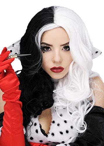 Perruque de Cruella Deville Style noir et blanc Villain