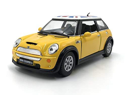 Modelo de coche a escala Mini Cooper S con la bandera (Flag Yellow)