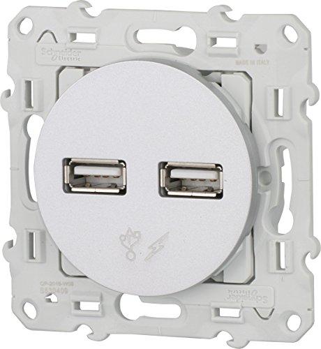 Schneider Electric SC5SHN0312414 Prise Double USB Odace, Blanc