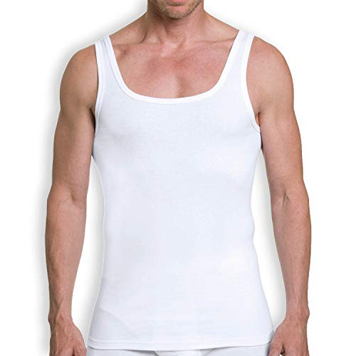 KUMPF BODY FASHION Herren Unterhemd 2er Pack I Sportshirt aus 100% Baumwolle ohne Seitennähte I Herren Tank Top mit Rundhals Ausschnitt I Weiß I Gr. 4XL (10)