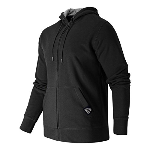 New Balance Herren Essentials Plus Fleece-Hoodie mit durchgehendem Reißverschluss, Herren, schwarz, Medium
