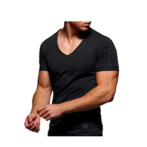 REALIKE Herren Kurzarmshirt Essential Basic V-Ausschnitt Einfarbig Top Classics Casual Slim Fit T-Shirt Oberteil Männer Frühling Sommer Bequem Baumwolle Atmungsaktiv Sweatshirt Blusen
