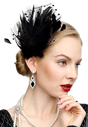 Fascinators 20s Gatsby Flapper Acessories Art Deco Party Accessory Peacock Feather Alligator Clip(A-Black)