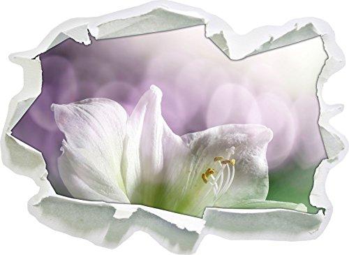 Sanfte Weiße Lilie, Papier 3D-Wandsticker Format: 92x67 cm Wanddekoration 3D-Wandaufkleber Wandtattoo