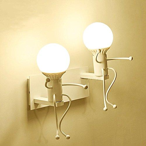 Iro forgé moderne créative Peinture Salon Chambre à coucher mur de chevet Lampe lumière, Art Villain Couloirs Chambre Enfants Wall Lamp,blanc,double tête 5 Watts lumière chaude