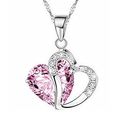 Women Necklace Daoroka Stylish Artificial Gem Love Heart Shape Pendant Chain Necklace Jewelry Gift For Mother Girlfriends