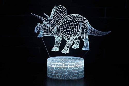 ARMAC Luz nocturna 3D ilusión con mando a distancia, 16 toques de cambio de color para decoración navideña, serie dinosaurios 3D LED luz nocturna lámpara de escritorio