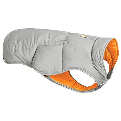 RUFFWEAR, Quinzee Insulated, Water Resistant Jacket for Dogs with Stuff Sack, Cloudburst Gray, Medium