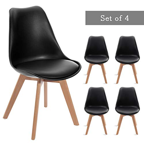 Waleaf Set of 4 Modern Dining Chair, DSW Side Chair with Soft Cushion, Eames Style Chair Armless Chair with Natural Wood Legs, Shell Lounge Plastic Chair for Bedroom, Living and Dining Room(Black)