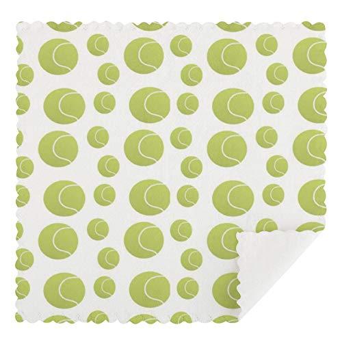 Juego de 2 toallas de cocina reutilizables, con patrón de pelotas de tenis, absorbentes, lavables a máquina, para encimeras de bar de cocina