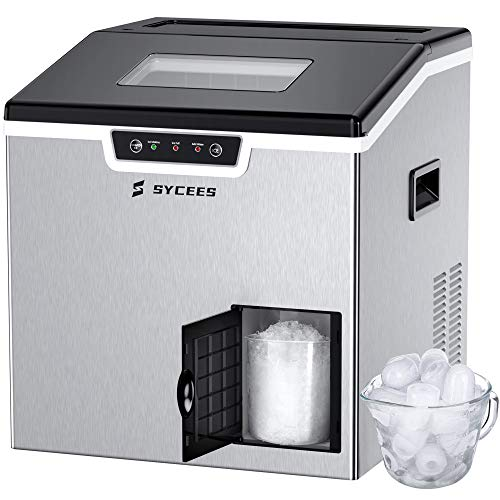SYCEES 2 in 1 Ice Maker & Shaver Machine Countertop, 44lbs/24H Ice Cubes, Efficient Ice Making & Ice Shaving with Full Ice & Low Water Alarm, Easy Using & Cleaning, Low-Noise Auto-Control Ice Machine