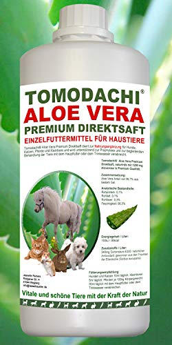Tomodachi AloeVera für Katzen, Futterzusatz, Nahrungsergänzung Katze, reines Naturprodukt ohne Chemie, Aloe Vera Premium Direktsaft aus dem Innengel frischer Aloe Vera Pflanzen 500ml Flasche