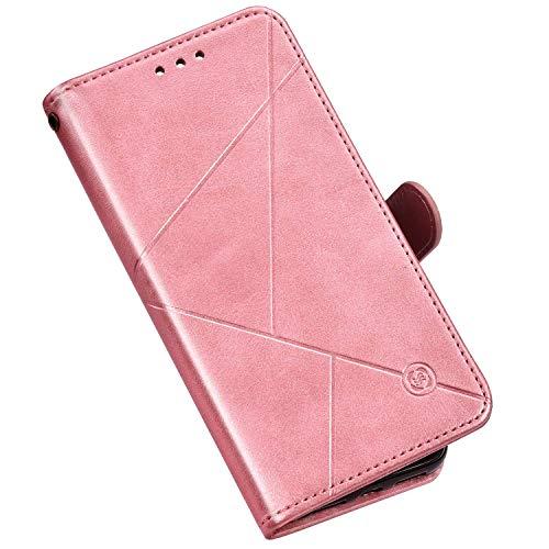 Hülle Kompatibel mit Samsung Galaxy S10 5G Ledertasche Brieftasche Handyhülle,QPOLLY Geometrisch PU Leder Handy Tasche Schutzhülle Wallet Tasche Flip Case für Galaxy S10 5G,Roségold