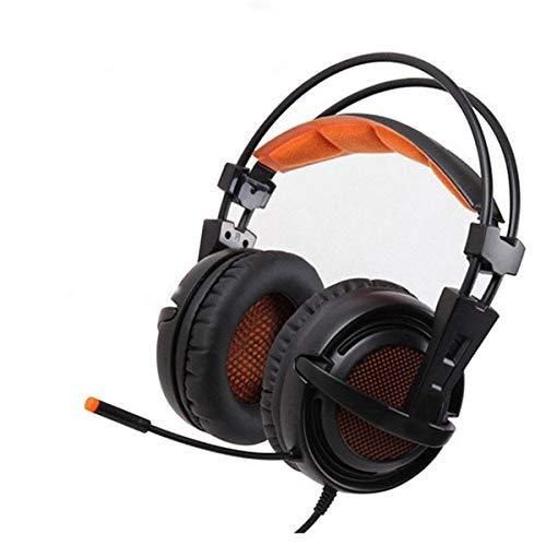 YUIK Gaming-koptelefoon, stereo, 7.1, USB, met LED, ademend, microfoon, voor pc-gamers, Wit