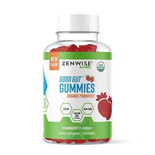 USDA Organic Probiotic Gummies - Clinically Studied Immune System Support - 5 Billion CFU of Vegan Digestive Probiotics - Gas, Bloating, Constipation & Diarrhea Relief - Strawberry Chewables